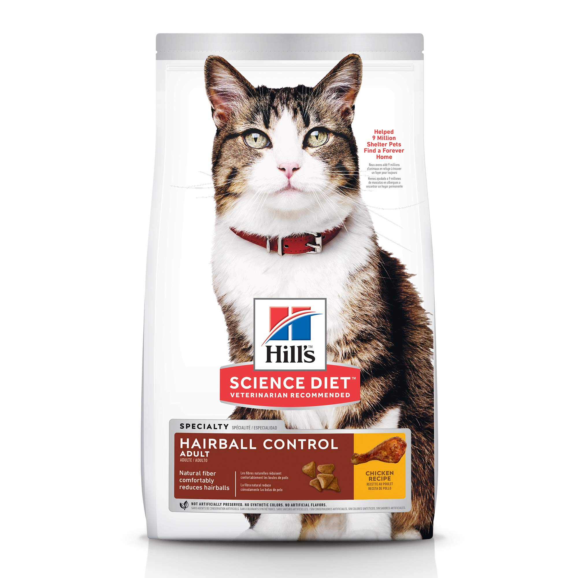 Hill's Science Diet Dry Cat Food, Adult, Hairball Control, Chicken Recipe, 15.5 lb Bag by Hill's Science Diet