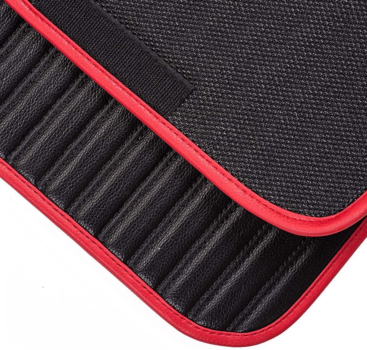 CAR Pass Universal Fit Leather 4pcs Car Floor Mat,Front and Rear mats Set,Fit for Suvs,Trucks,sedans,Vans Black and Red