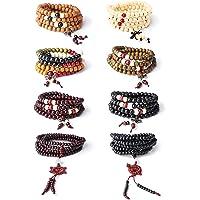 LOYALLOOK 8-12pcs 108 Mala Bead Bracelets Buddhist Strand Wood Bracelet Prayer Beads Sandalwood Link Wrist Necklace Chain for Men Women