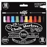 Loddie Doddie Liquid Chalk Markers - Earth Tones - Pack of 10 Chalk Pens - Perfect for Chalkboards, Blackboards, Windows…