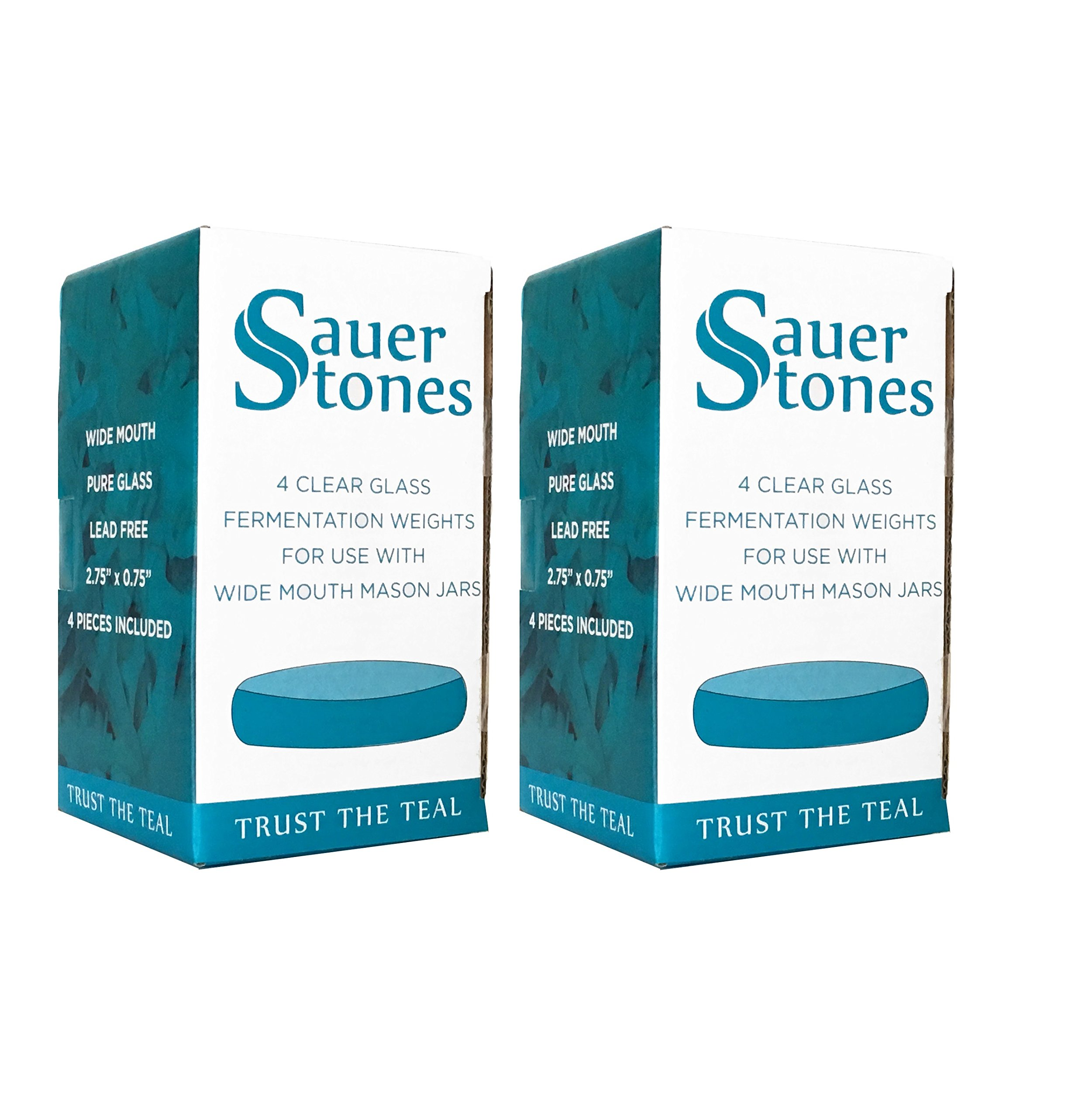 Sauer Stones - Large Glass Fermentation Weights for Mason Jar Fermentation, Preservation and Pickling - Fits ANY WIDE MOUTH MASON JAR - 8 Pack