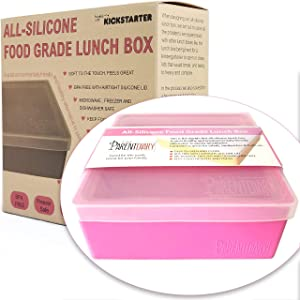 Eco Lunch box for Kids and Adults | All Silicone Lunch Containers with Dividers | Kids lunch container | Microwave, Dishwasher and Freezer Safe | The Parent Diary (Pink, Single Compartment)