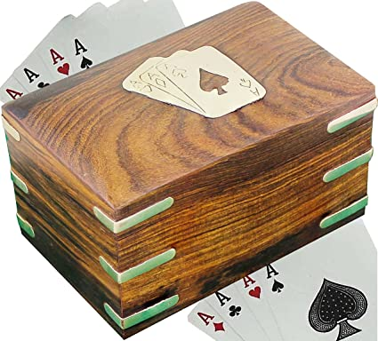 Handmade | Indian Handmade Brown Wood Card Holder for 2 Decks of Playing Cards 6x5 in