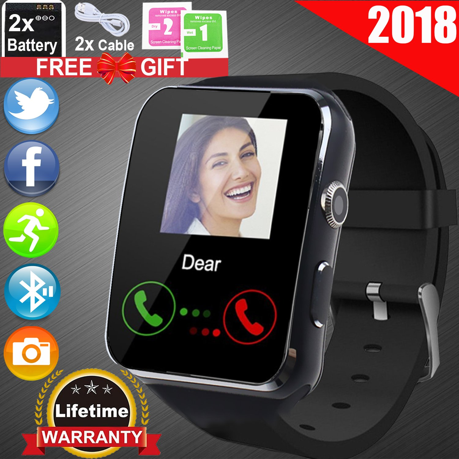 duperym防水スポーツ腕時計、ip68 Bluetooth Smart Watch Fitness Trackerデジタルメンズレディース腕時計歩数計for Boy GirlスポーツアウトドアアクティビティCalorie Odometers Stopwatches B07C8H2DT2 03 Black 03 Black