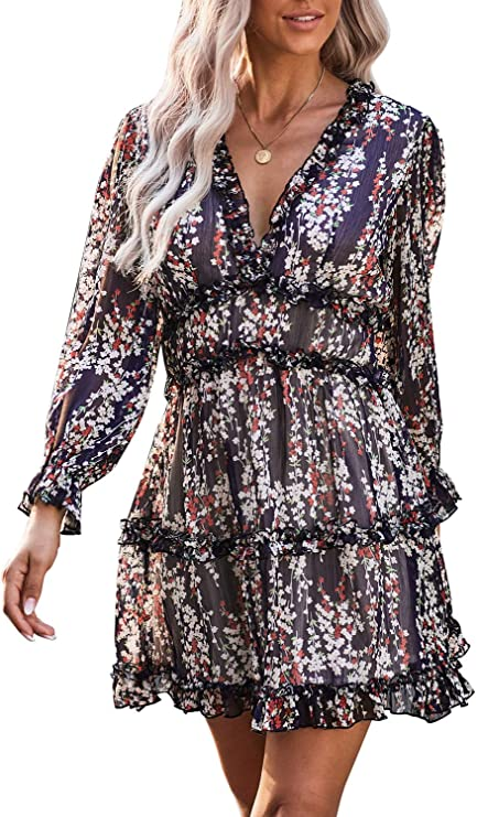 Eytino Women Long Sleeve Floral Printed Dress V Neck Casual Short Dresses, Small Blue at Amazon Women's Clothing store