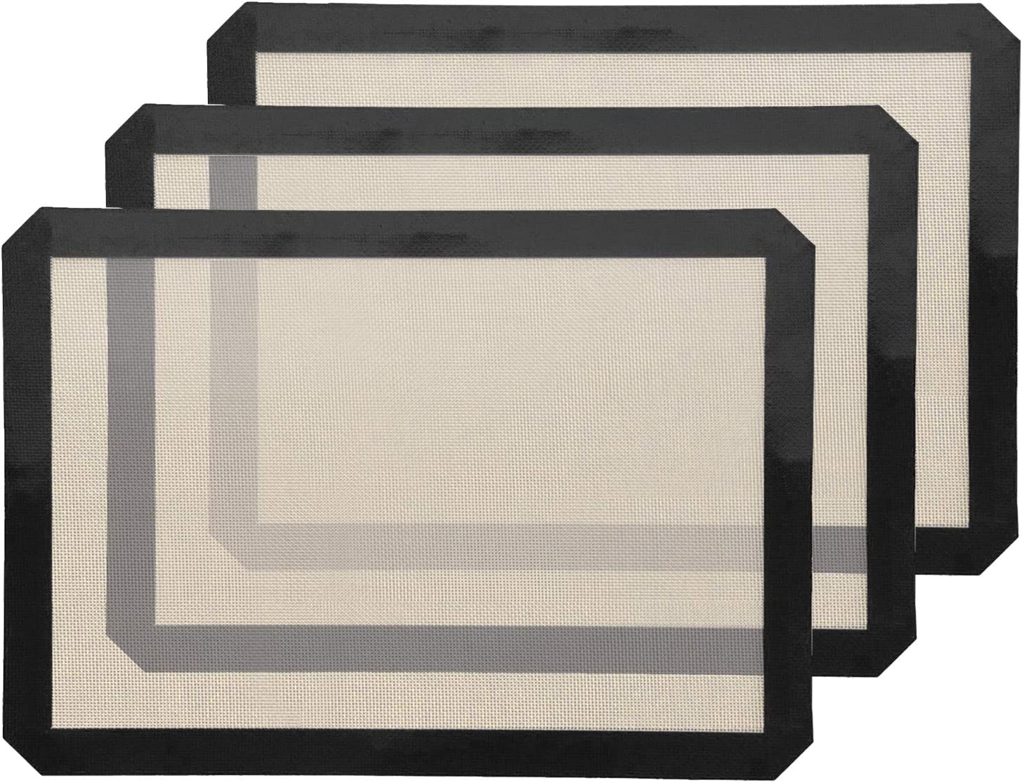 Silicone Baking Mats, Non-Stick and Eco-Friendly, Food Grade Heat Resistant, Non-Toxic for Oven Baking, Black / 3 Pack