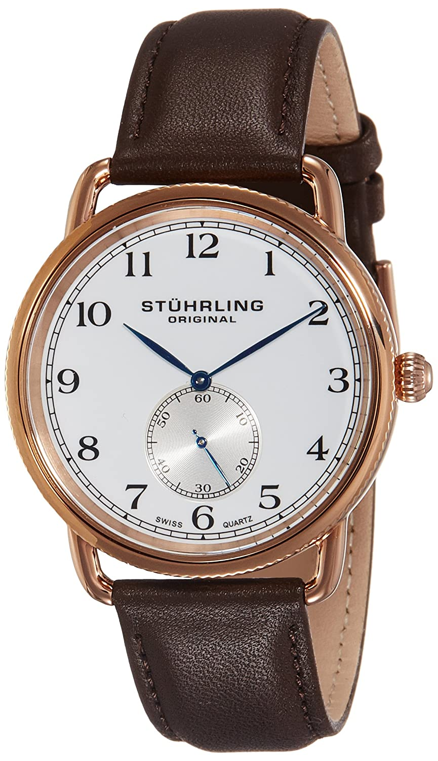 Stuhrling Original Men's 207 04 Cuvette Analog Swiss Quartz Brown Genuine  Leather Watch