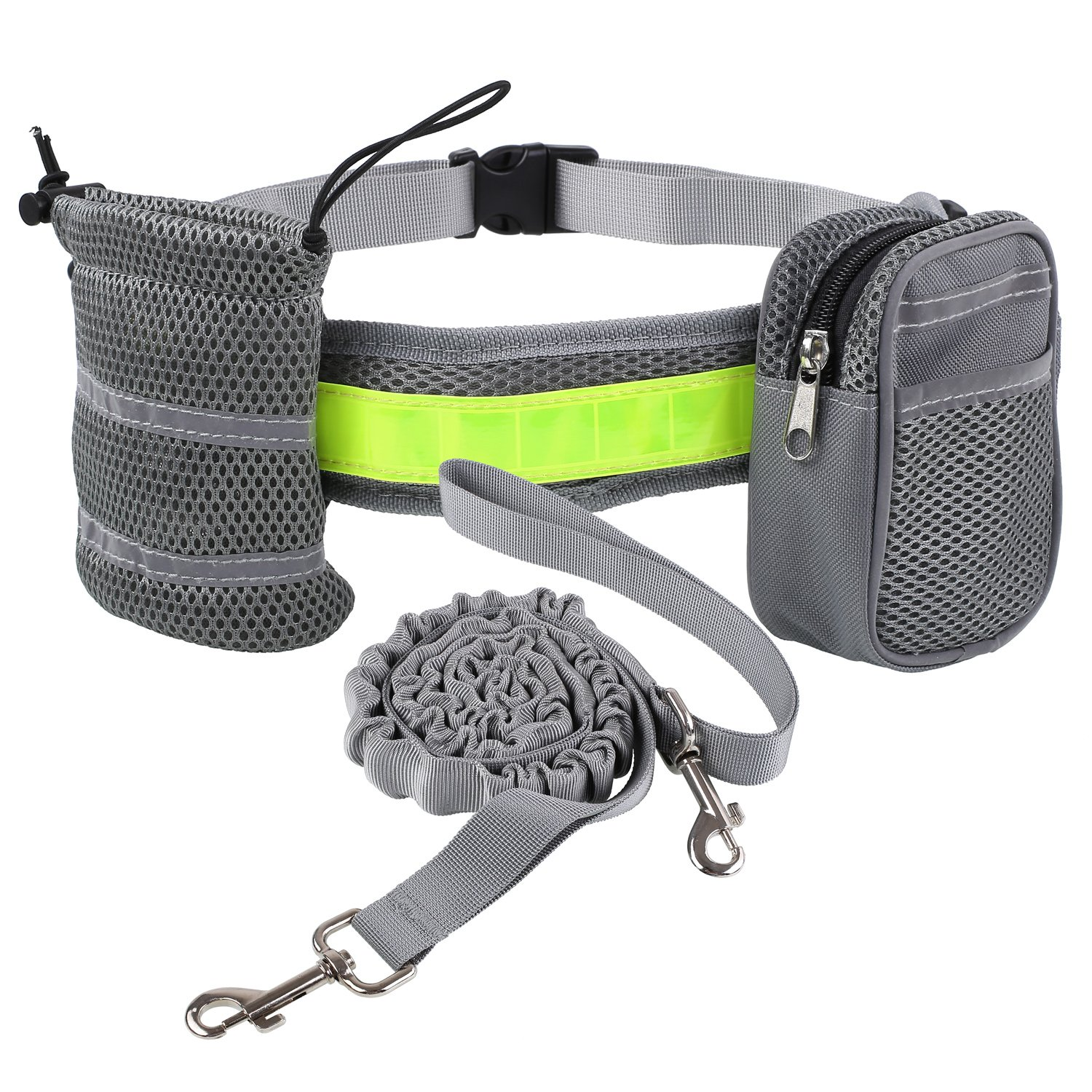 PEDY Hands Free Dog Leash, Retractable Bungee Dog Leash, Reflective Waist Belt with Bottle Holder Waist Bag, Adjustable for Large and Small Dogs