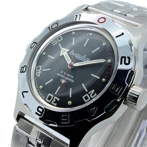 Vostok Amphibian nuevo 100820 Ruso Reloj de Muñeca automático Buzos 200 m auto Negro