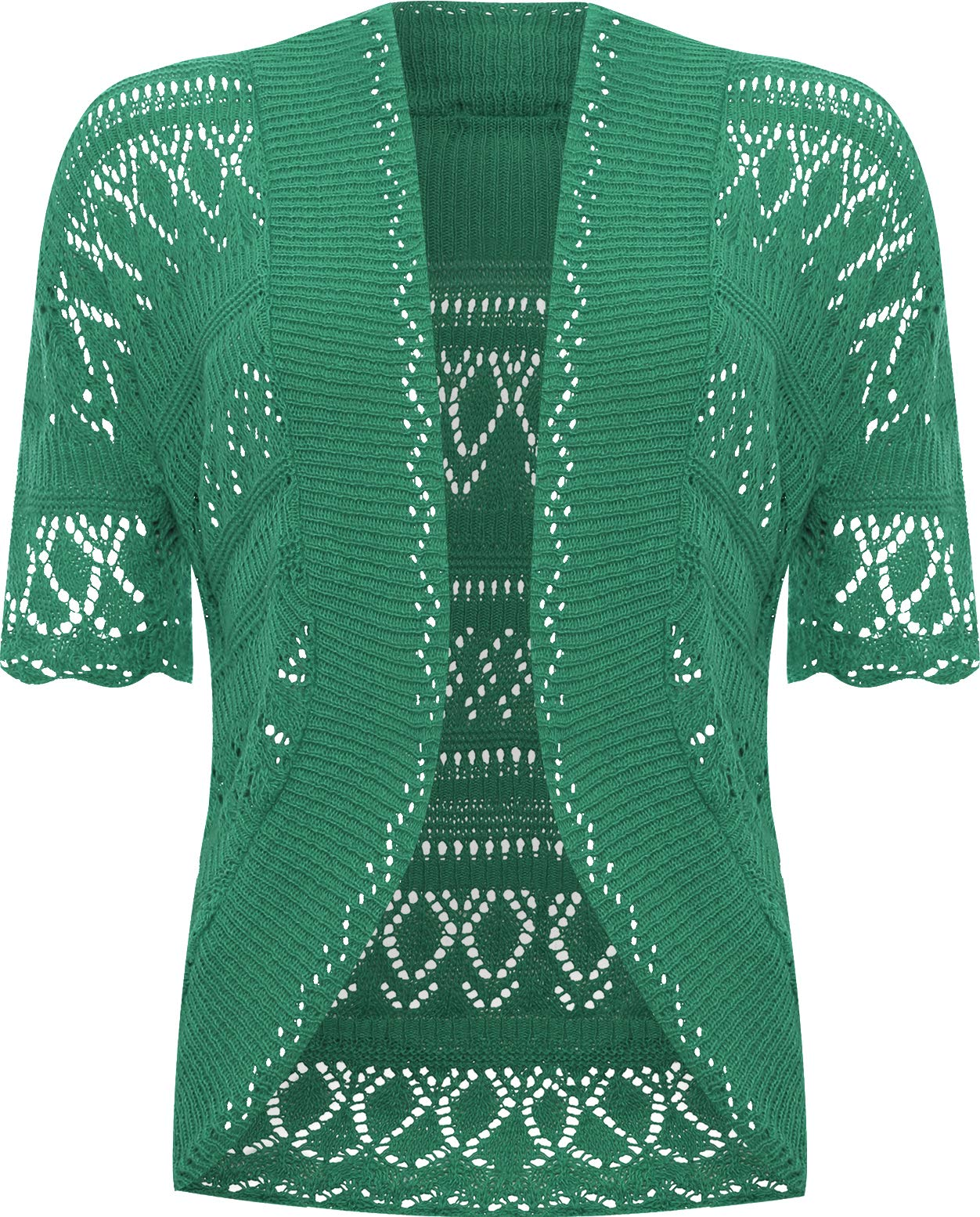 WearAll Women's Plus Size Crochet Knitted Short Sleeve Cardigan - Green - US 12-14 (UK 16-18)