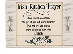 Irish Blessing Kitchen Prayer Serving Tray with slatted Wood Look 18