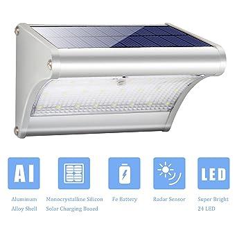 Luces solares para exterior, 24 ledes superbrillantes, 450 lúmenes de aleación de aluminio,