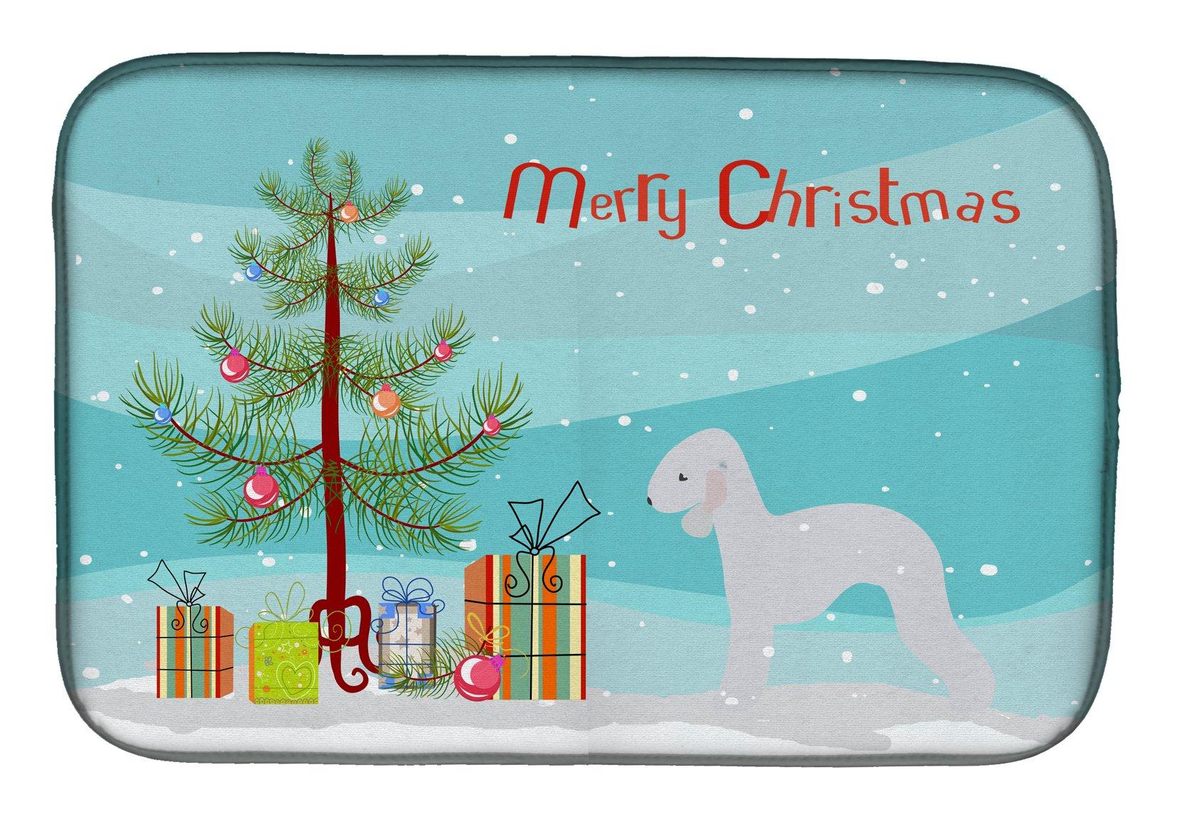 Large multicolor Carolines Treasures BB4750OVMT Christmas Bedlington Terrier Blue Oven Mitt