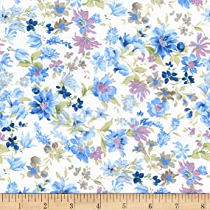 Kaufman Sevenberry: Petite Garden Lawn Pastel Floral Blue Fabric by The Yard