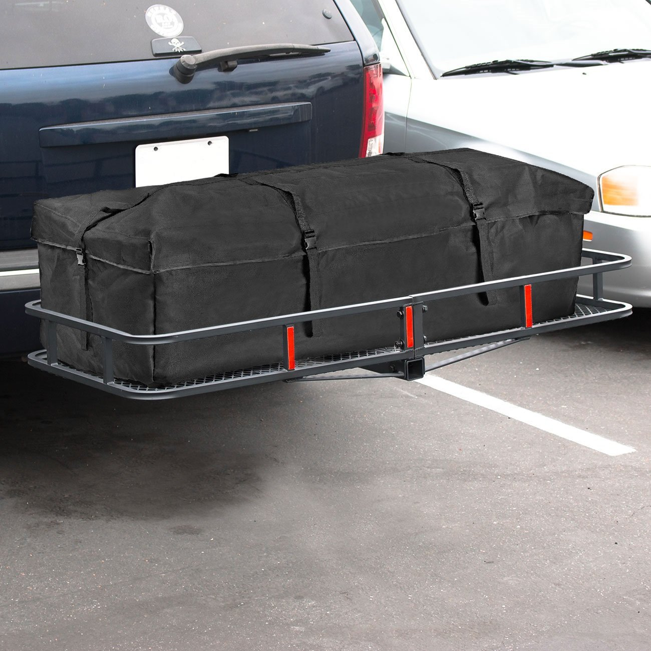 ARKSEN 60'' x 25'' inch Cargo Hauler Carrier Hitch Mounted Luggage Basket with Cargo Bag Combo by ARKSEN