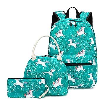 e582afa3e22c CAMTOP Teens Backpack for School Boys Girls School Bookbag Set Travel  Daypack (Green-3pcs)