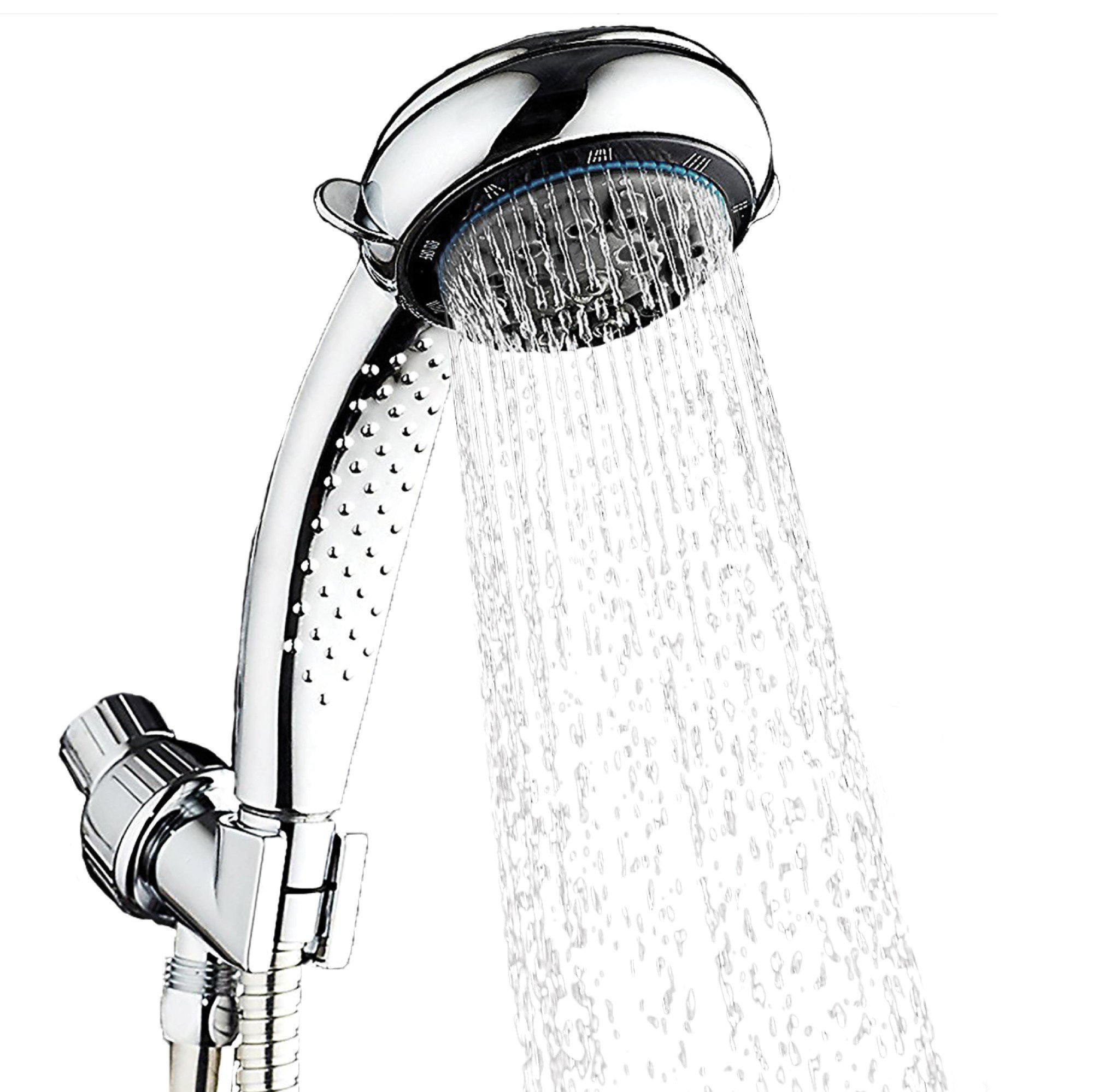 Handheld Shower Head with 8 Lavish Spray Settings from Power Massage to Water Saving Mode; Adjustable Shower Arm Mount, Hose and Sealant Tape Included