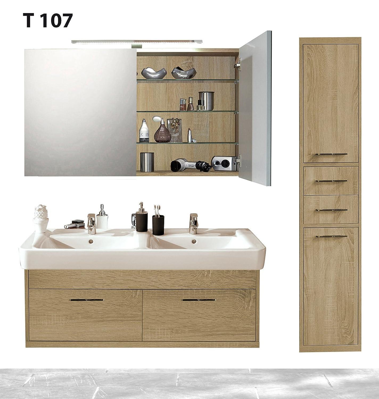 Badserie TIMBERY T107, Hoch-, Spiegel-, Unterschrank u. Waschtisch in SOE