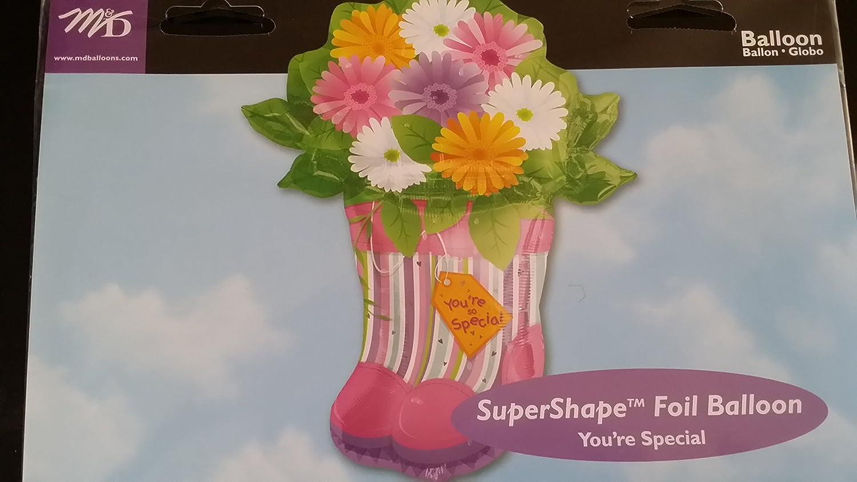 Amazon Flower Bouquet In Boots Vase Mylar Foil Balloon