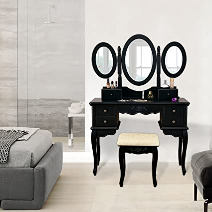 Amazon vanity makeup table set 3 folding mirror dressing table vanity makeup table set 3 folding mirror dressing table with padded stool 6 drawers watchthetrailerfo