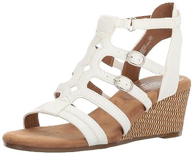 35b6b235b Aerosoles Women s Sparkle Wedge Sandal White 9.5 ...