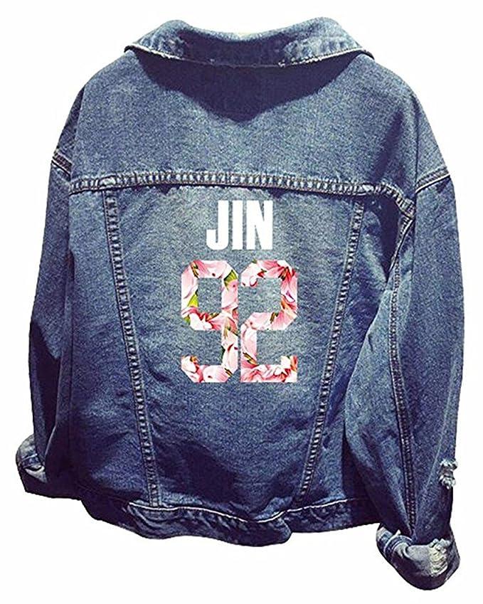 SERAPHY BTS Unisex Chaqueta KPOP Jeans Chaqueta Larga con Capucha Jin Suga J-Hope Rap-Monster Jimin V Jung Kook 92: Amazon.es: Ropa y accesorios