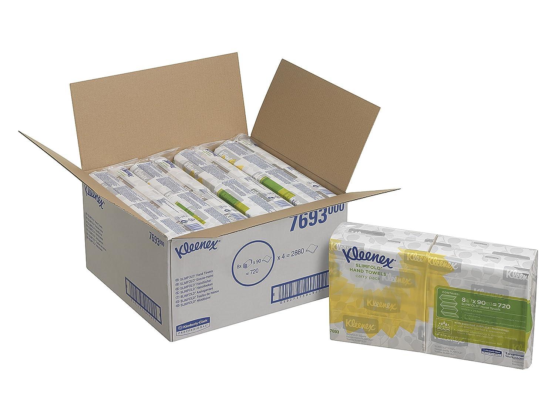 KLEENEX* SLIMFOLD Hand Towels 7693 - 8 packs x 90 white, 1 ply sheets Kimberly Clark - Professional
