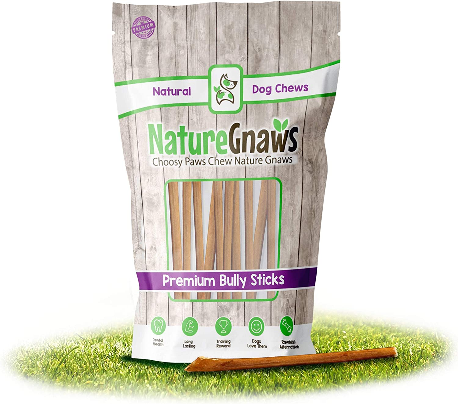 Nature Gnaws Extra Thin Bully Sticks for Dogs - Premium Natural Beef Bones - Long Lasting Dog Chew Treats for Small Dogs & Puppies - Rawhide Free - 6 Inch