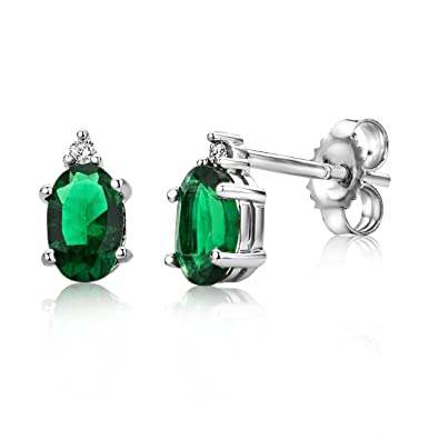 Miore Emerald 9 kt (375) White Gold Stud Earrings for Women, 6.5mm
