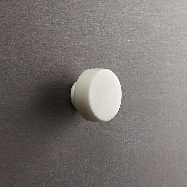 marble white disk drawer pull