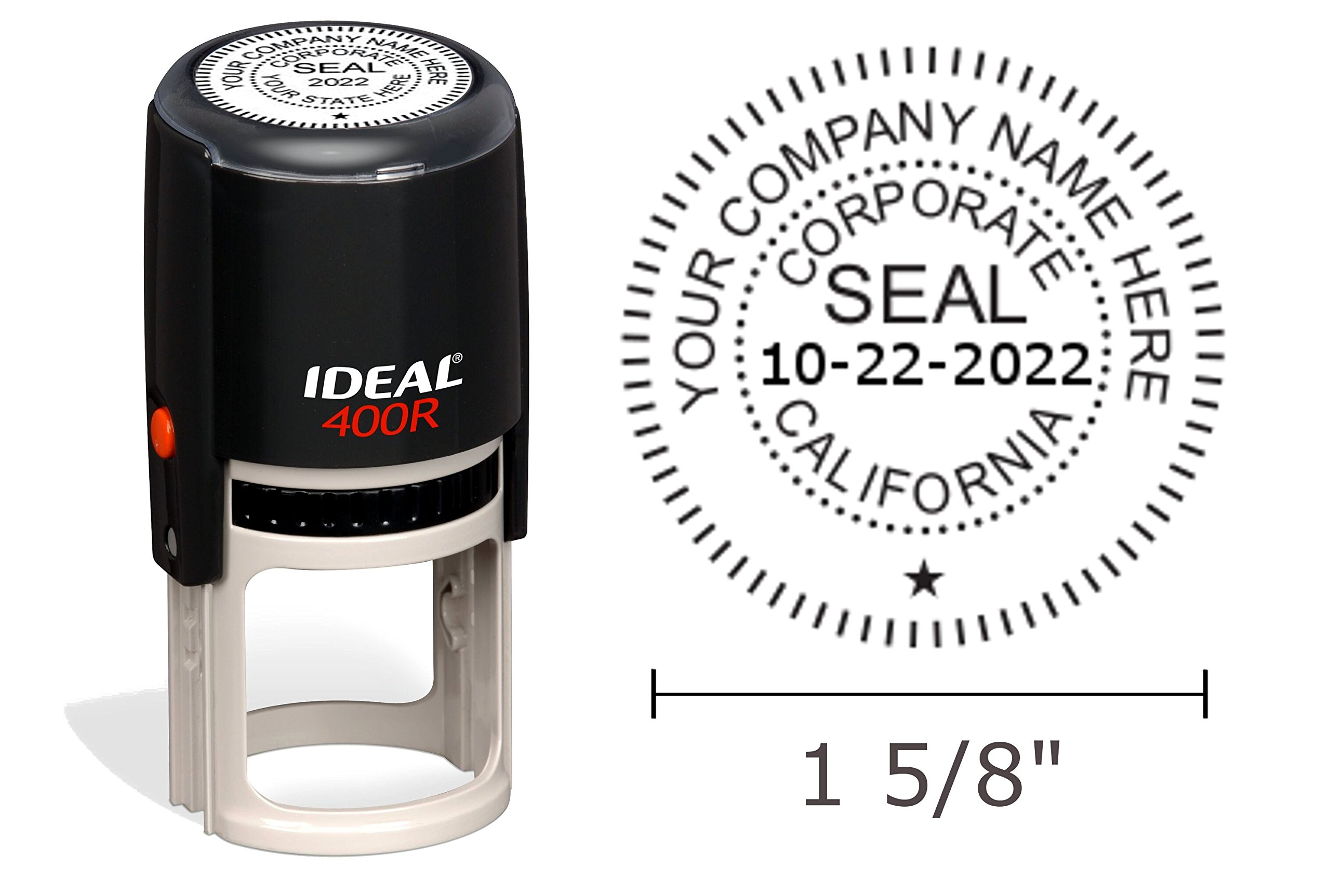 California Corporate Seal Stamp, Ideal 400R, Round 1-5/8'' Impression, Black Body