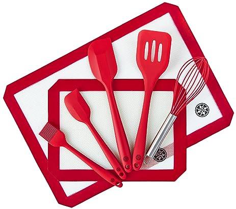 StarPack Premium Silicone Baking Mat And Baking Kitchen Utensils Set (7  Piece), Bonus