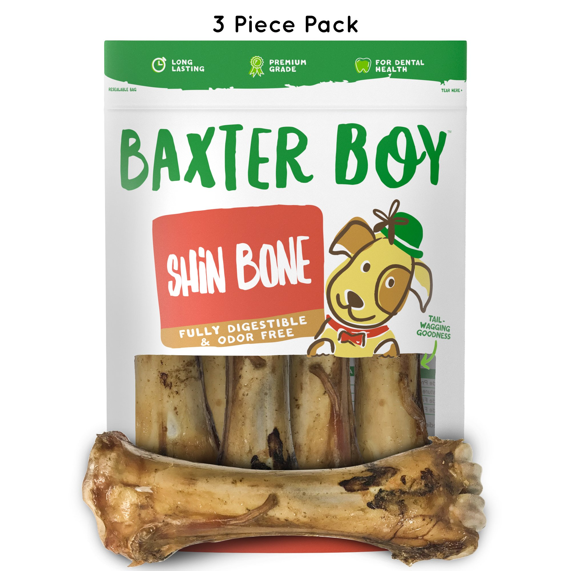 "Baxter Boy Premium Grade Roasted Meaty Beef Shin Bone Dog Treats (3 Pack) – 8"" Long Lasting All Natural Gourmet & Healthy Dog Bone Treat Chews – Tasty Smoked Beef Flavor by Baxter Boy (Image #1)"