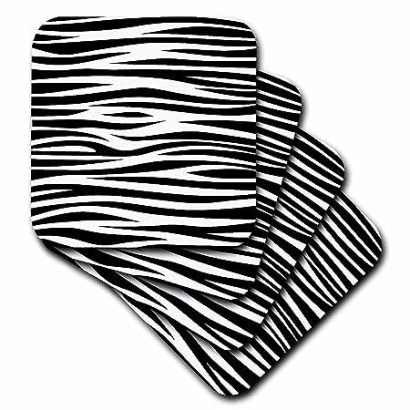 Black and White Set of 8 3dRose cst/_119052/_2 Animal Print Zebra Stripes Trendy Pattern Soft Coasters