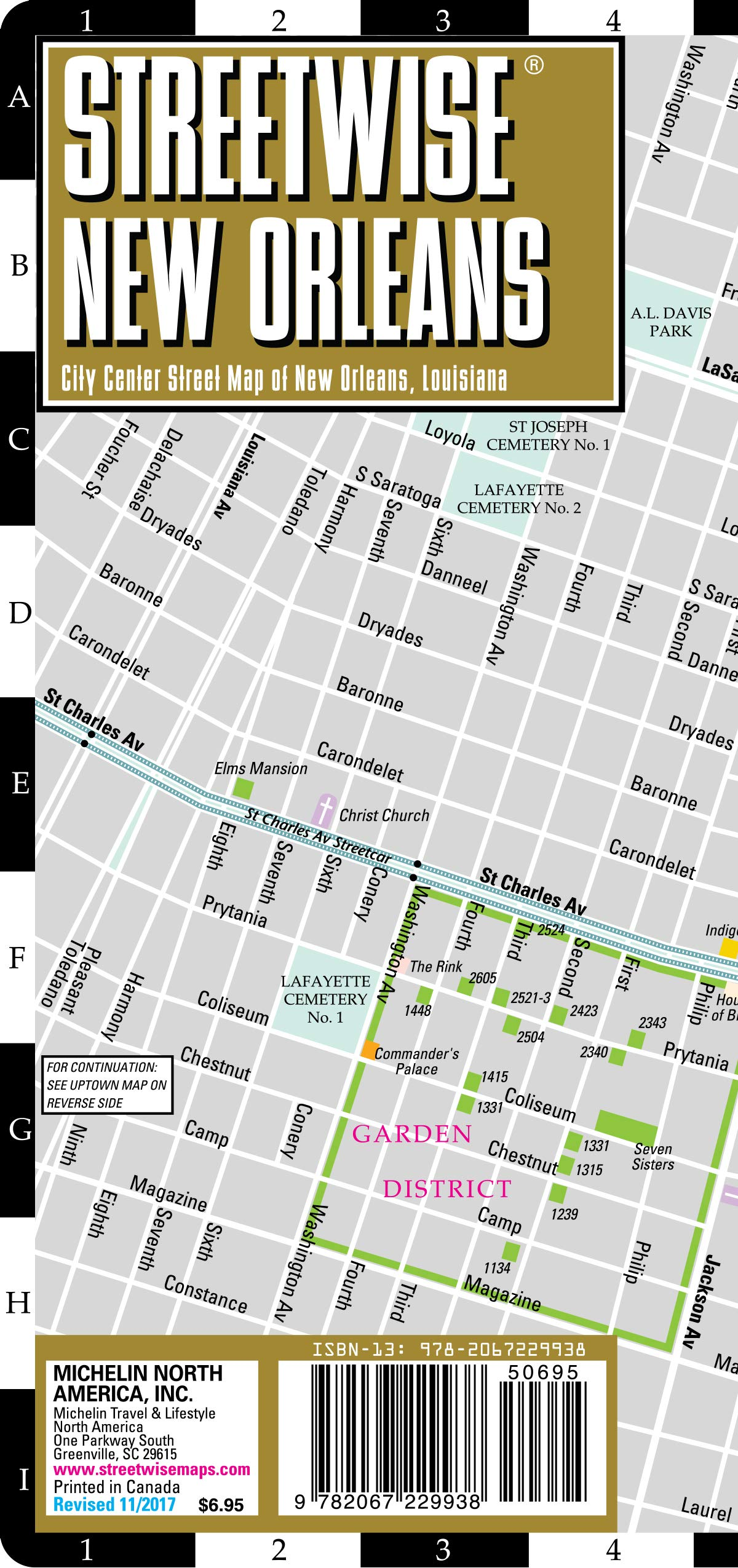 Louisiana New Orleans Map.Streetwise New Orleans Map Laminated City Center Street Map Of New