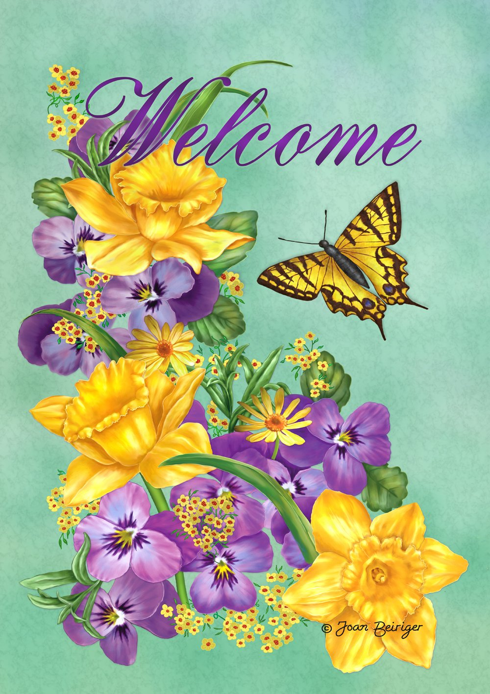 Toland Home Garden Frolic in the Flowers 12.5 x 18 Inch Decorative Purple Yellow Welcome Flower Butterfly Garden Flag