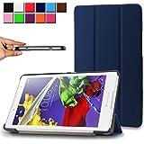 Infiland Lenovo TAB 2 A8-50 Funda Case-Ultra Delgada Tri-Fold Smart Case Cover PU Cuero Smart Cascara con Soporte para Lenovo TAB 2 A8-50 20,3 cm (8 pulgadas HD IPS) Tablet(Azul Oscuro)