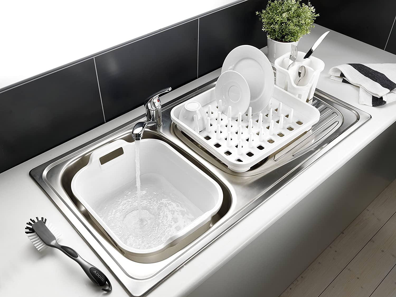 Addis Rectangular Washing Up Bowl with Handles, White, 39 x 32 x 14 ...