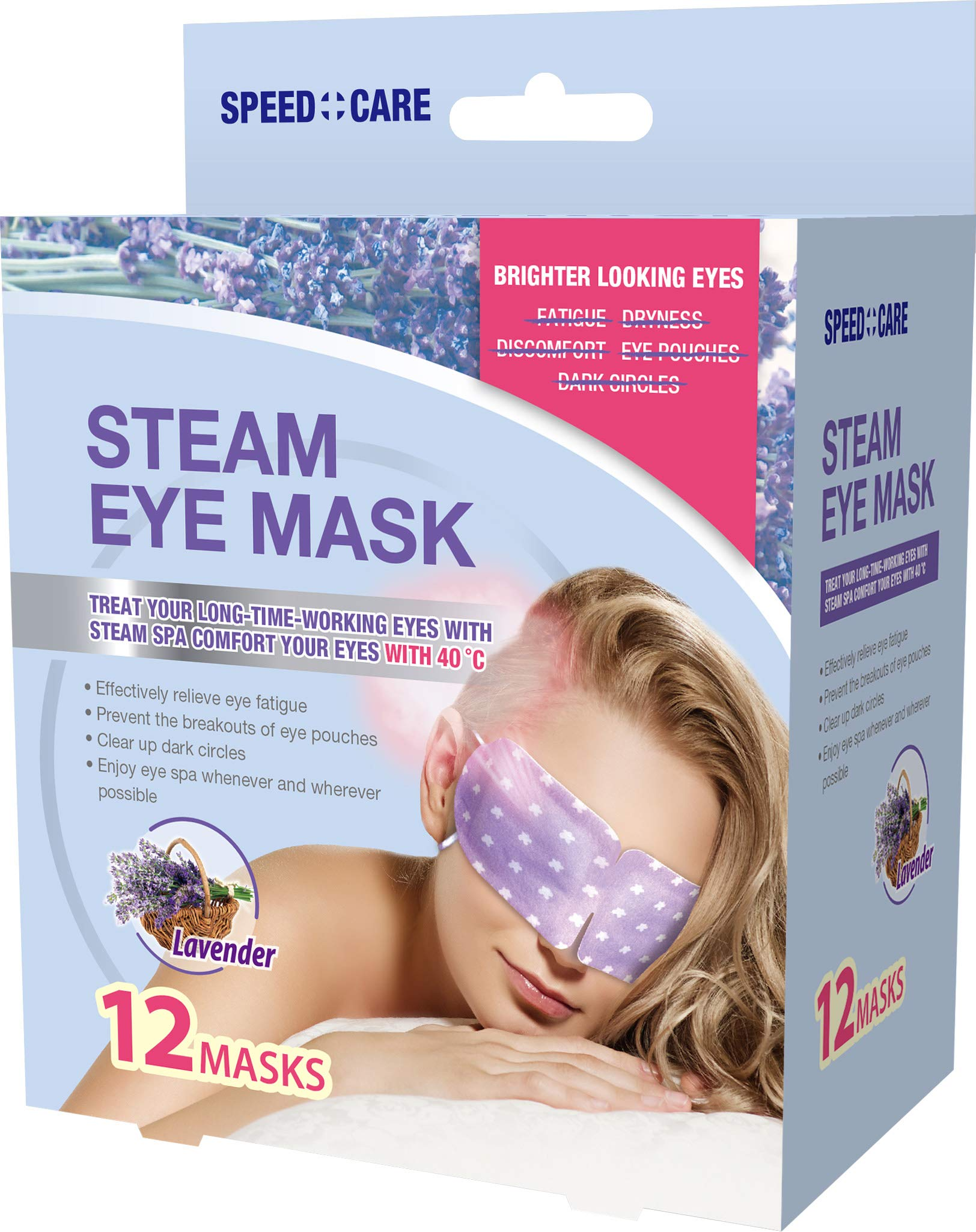 SPEED CARE Lavendar Scented Steam Warm Eye Mask, Stress Relieve 12 Masks in a box Sleep Eye Mask for Tired Dry Puffy Eyes Reduce Dark Circles by SPEED CARE