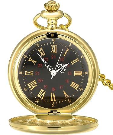 Reloj de Bolsillo de Cuarzo Antiguo Liso con Cadena de Acero (Dorado): Amazon.es: Relojes