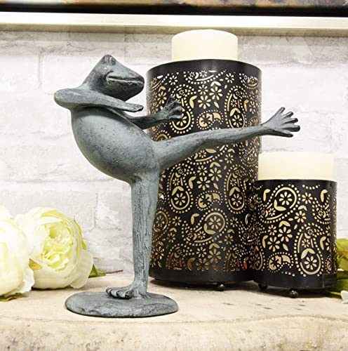 Ebros Gift Verdi Green Aluminum Metal Whimsical Tai Chi Kung Fu Frog Garden Statue Zen Feng Shui Martial Arts Frogs Home Garden Patio Pool Decorative Sculpture Shadow Kick