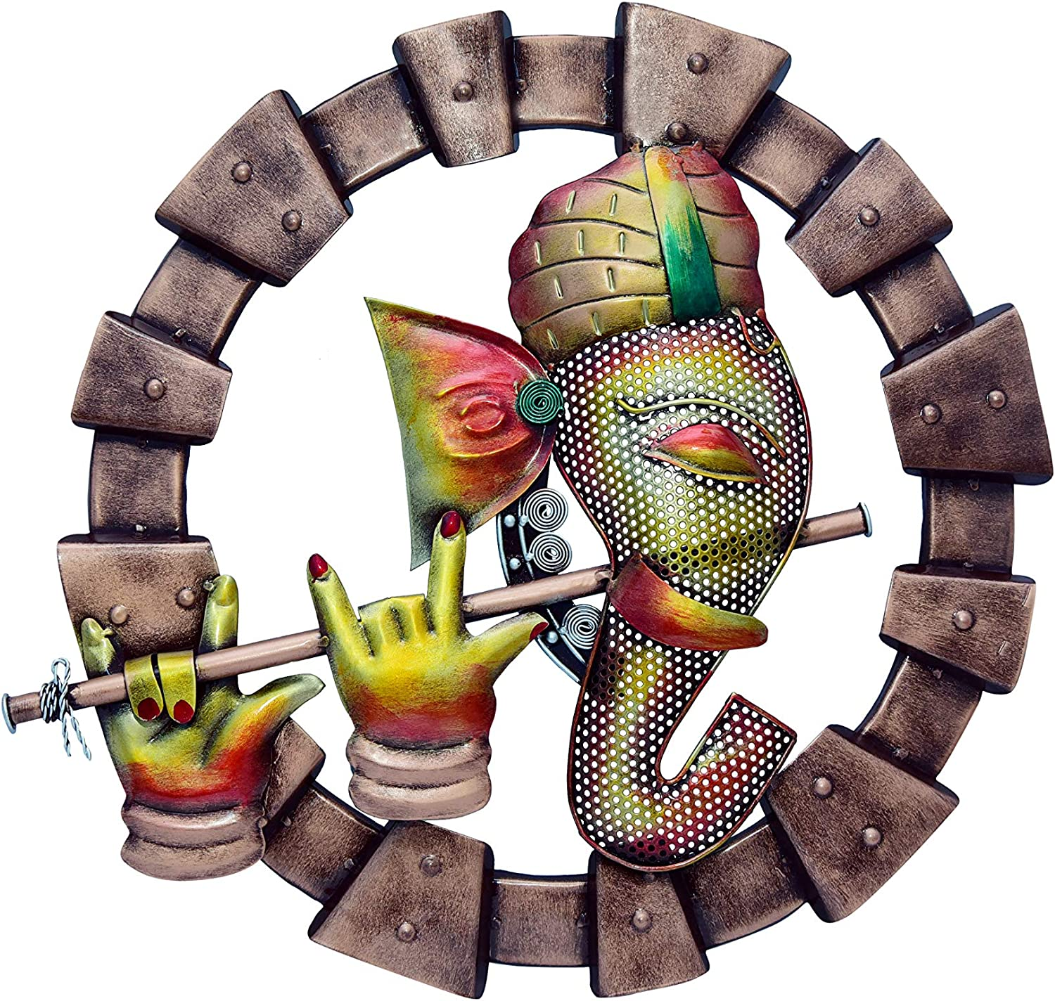 ROCOMO Metal Ganesha Wall Hanging Frame | Round Ganesh Flute Wall Mount Decor Showpiece for Home Office Living Space, Multicolour (21x3x19 Inch)