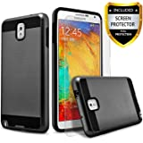 Galaxy note 3 Case, 2-Piece Style Hybrid Shockproof Hard Case Cover + Circle(TM) Stylus Touch Screen Pen And Screen Protector (Black)