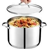 GOURMEX Tango Induction Stockpot   Stainless Steel Pot With Glass Cookware Lid   Interior Measurement Markings   Compatible w