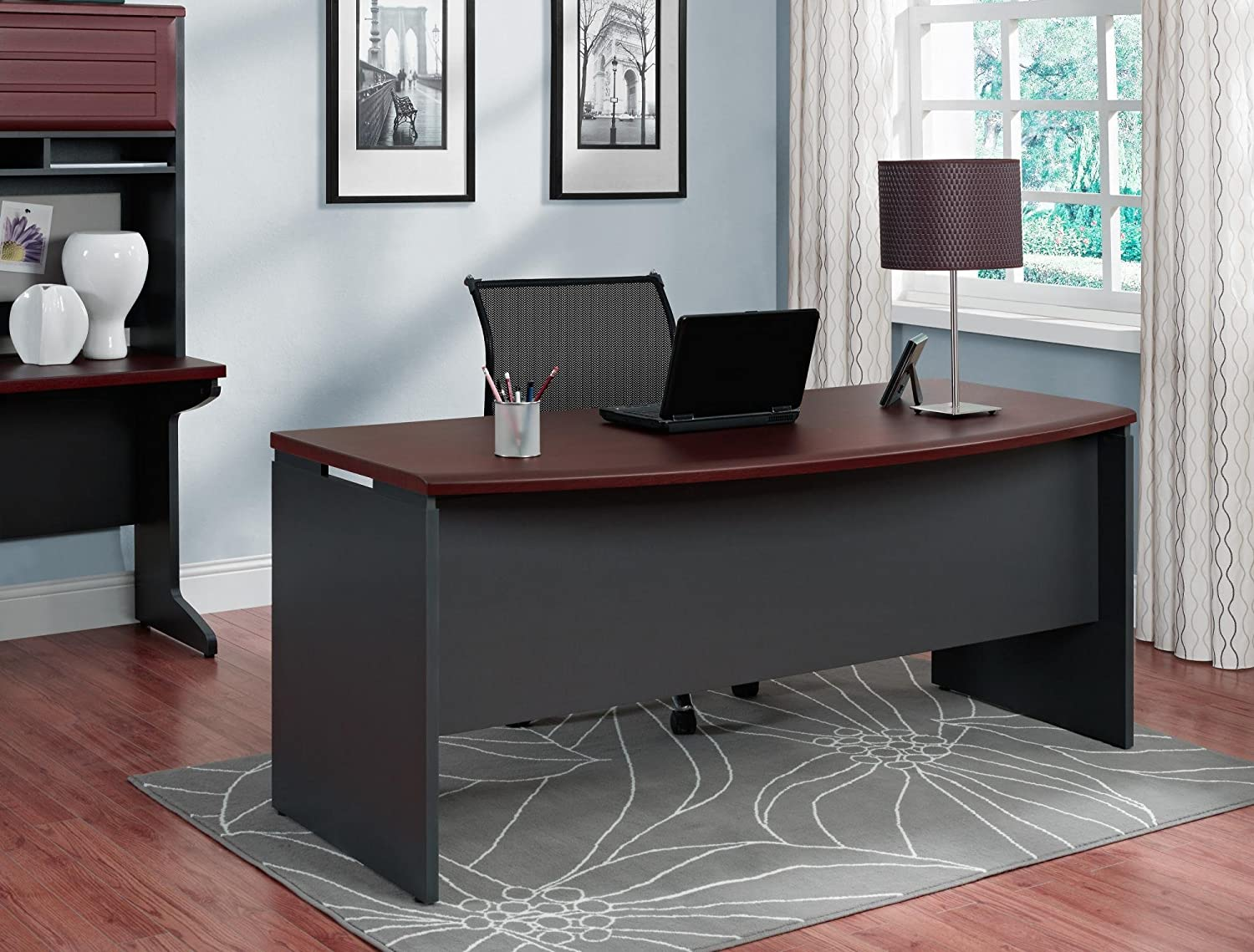 Executive desk office furniture - Amazon Com Altra Pursuit Executive Desk Cherry Gray Kitchen Dining
