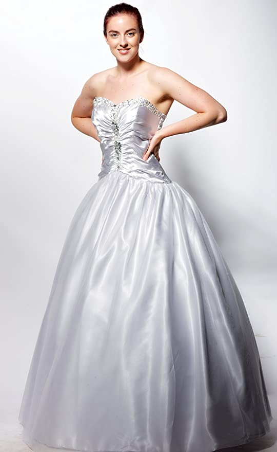 atopdress@YM6 satin BALL Evening prom sequined gown dress ball gown party dress (14, Silver): Amazon.co.uk: Clothing
