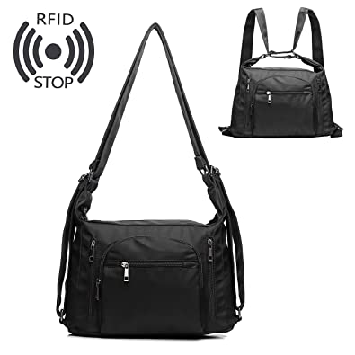 4051c3949b2 RFID Crossbody Bags for Women,Multifunction Nylon Shoulder Backpack Purse  and Handbags with RFID Anti