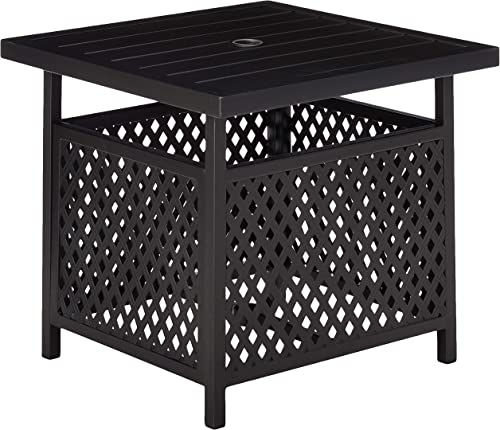 LOKATSE HOME Patio Umbrella Table Stand with Umbrella Hole, Outdoor Table Base Only Garden Table Side Table Bistro Table – Black
