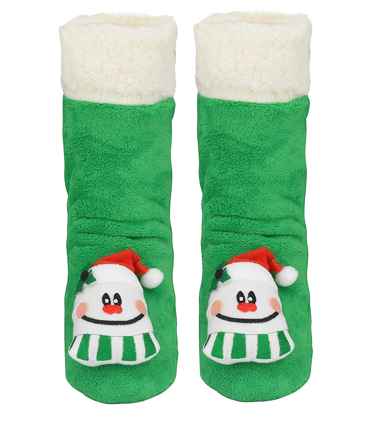 ELFJOY Womens Christmas Slipper Socks Cute Pattern Fleece Warm Winter Sock Stockings