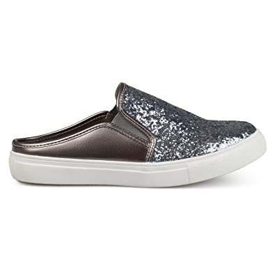 3fa663fc91757 Womens Glitter Faux Leather Slide Sneakers Pewter